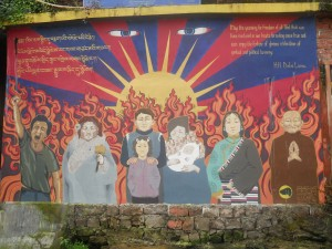 Mural in Dharamsala celebrating the Tibetan struggle for independence